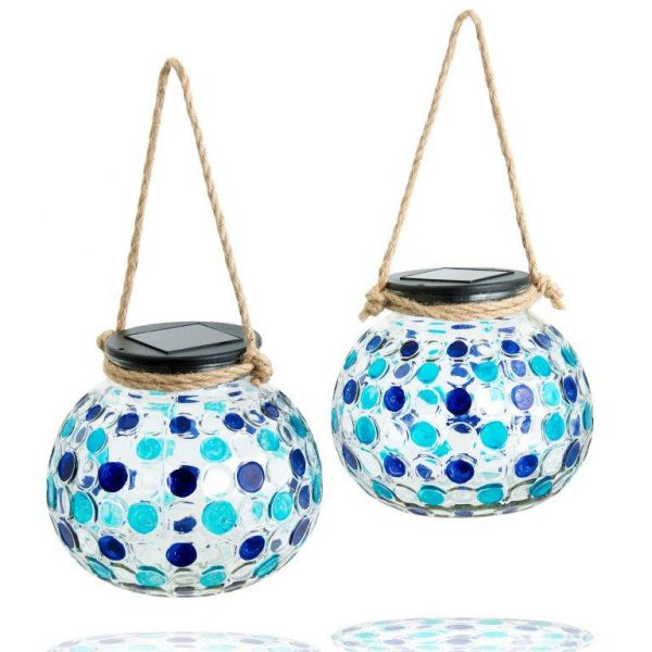 Solar Glass Lantern Set Blue-2810