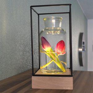 Draadframe Hout decoratie Lamp-3315